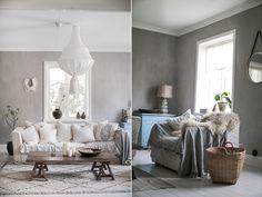 "Living room, painted in kalklitir ""Emma"". Scandinavian interior design. Grey scale. Light. Simple. Rustic. Retro."