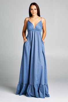 Denim Color Cotton Maxi Dress – Prom And Bridal Dress House Simple Dresses, Cute Dresses, Casual Dresses, Summer Dresses, Satin Dresses, Cotton Dresses, Casual Holiday Outfits, Moda Jeans, Dress Outfits