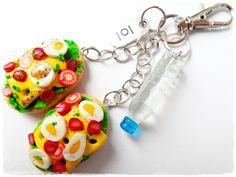 Brelok ze zdrowym śniadaniem i wodą mineralną w BezCukru - biżuteria z charakterem na DaWanda.com,miniature food jewelry, FIMO, polymer clay,