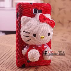 Pink bling hello kitty phone cover for Samsung galaxy note ch Htc Phone Cases, Cell Phone Pouch, Crochet Phone Cases, Crochet Mobile, Hello Kitty Pictures, Galaxy Note 3, Crochet For Beginners, Crochet Gifts, Crochet Projects