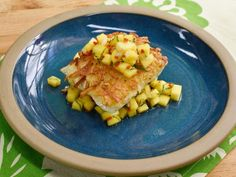 Get Hash Brown-Crusted Halibut with Mango Mint Relish Recipe from Food Network