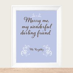 Jane Austen   Mr. Knightley's Proposal to Emma,  Marry Me My Wonderful Darling Friend  Art Print 8x10 #etsy #austenism $20