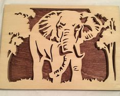 Elephant in the Forest Welding Art Projects, Wood Projects, Wooden Wall Art, Wood Art, Ebru Art, Intarsia Wood, Scroll Saw Patterns, Picture On Wood, Kirigami