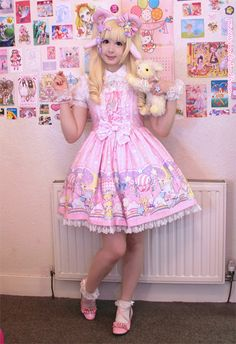 """For Easter I dressed as a lolita lamb! <3 Hehehe there are even cute lambs on the print of the dress~JSK: """"Cotton Candy Shop"""" by Angelic PrettyWig/Blouse/Shoes/Socks/Wristcuffs: BodylineEars/Horns: Etsy, EbayAccessories: Chocomint, Cute Can Kill, Kawaii Goods, Angelic Pretty"""