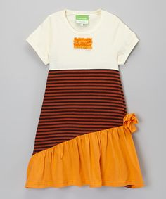 Look at this Helene's Closet Cream & Orange Stripe Bow Dress - Toddler & Girls on #zulily today!
