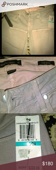 """NWT Genetic Denim """"The Shya"""" These chick jeans are """"Powder Glitz"""" and to describe the color the jeans are pale pink with a shimmery gray/silver wash. These do stretch! Genetic Denim Jeans Skinny"""