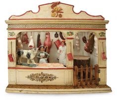 Forever Young - Marquis Antique Doll Auction: 287 German Wooden Miniature Butcher Shop by Christian Hacker