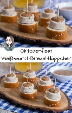 Weisswurst appetizers for Oktoberfest recipe Weißwurst pretzel . - Weisswurst appetizers for the Oktoberfest recipe Weisswurst pretzel canapes with s - Party Finger Foods, Snacks Für Party, Appetizers For Party, Appetizer Recipes, Oktoberfest Party, Fingerfood Party, Party Buffet, Clean Eating Snacks, Holiday Recipes