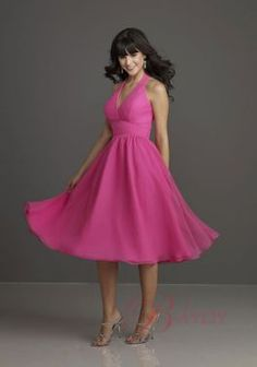 Pink Harness Charming Elegant Bridesmaid Dresses Satin Chiffon Tea Length Trumpt B9805