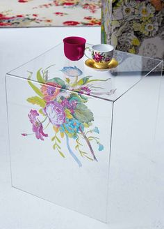 Give a plain Perspex table a pretty facelift.