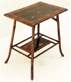antique chinese  bamboo  furniture | Antique 19C Chinese bamboo and lacquer side table Victorian Picture ...