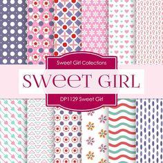 Sweet Girl Digital Paper DP1129 - Digital Paper Shop - 1