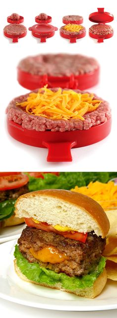 Stuffed burger maker - press creates patties stuffed with toppings I got one not impressed at all Cool Kitchen Gadgets, Kitchen Tools, Cool Kitchens, Cooking Gadgets, Cooking Tools, Filling Food, Kitchen Must Haves, Big Kitchen, Kitchen