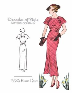 Decades of Style 1930's Button Dress
