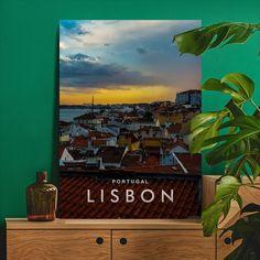 Metal Poster Lisbon Skyline Night