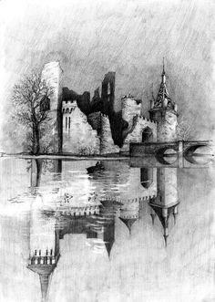 Odbicie zniszczonego zamku w wodzie. Reflection in the water of a destroyed castle.