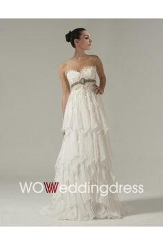 Best Awesome Empire Waistline Tiered Wedding Dress with Floral Pin - Beautiful Wedding Dresses Online Wholesaler and Retailer