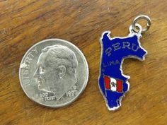 Vintage Silver Lima Peru Flag Enamel Map Souvenir Pendant Charm | eBay