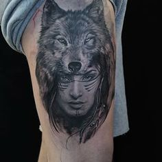 Native American Wolf Girl  Native American Girl With Wolf Tattoo