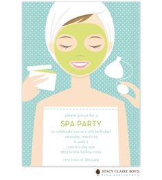 Spa Girl Party Invitation: Nothing is better than being pampered on your birthday! This Spa Girl party invitation features the relaxed guest of honor in shades of aqua, green, and white.