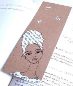 Handmade Bookmark with Original Drawing/Collage by creativesque, © Stacey-Ann Cole 2012 Cool Bookmarks, Creative Bookmarks, Custom Bookmarks, Personalized Bookmarks, Beaded Bookmarks, Handmade Bookmarks, Book Crafts, Paper Crafts, Bookmark Printing