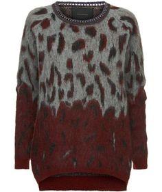 Wilder Pullover von Maison Scotch #animal #print #fashion #engelhorn #fall #trends #burgundy