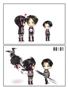Attak on Titan chibi characters Eren, Mikasa & Levy