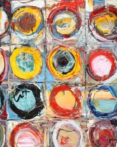 "MICHAEL NISPEROS ""Circle Up"" Original Painting On Canvas Canvas Size 60"" x 48"""