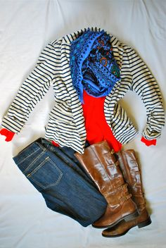 Knit blk / wht shrug from Maggie & Me - downtown Plymouth, orange Eddie Bauer tee from fall 2012, scarf from RSVP in Plymouth, and ....FORGET THE BOOTS!