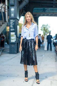 Sarah Rutson in a long black sequin pleated skirt.   //Pinned on @benitathediva, LifeSTYLE Blog