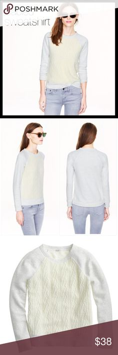j. crew // cabled sweatshirt • gray and cream We love a good mash-up. The polish of a cabled sweater meets the comfort of your favorite sweatshirt in cozy Italian yarns. Cotton sweatshirt body with a fuzzy cotton/nylon/poly front panel. Gently worn in and great condition. Love this one for layering over chambray or printed button downs. So cute! J. Crew Sweaters Crew & Scoop Necks