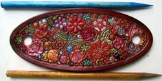 Brown  Border Leather Hair Barrette with Colorful by galeatherlady, $12.00
