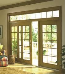 Sliding patio doors with additional windows above...very nice