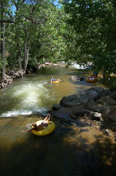 Tubing down Boulder Creek - Boulder, Colorado