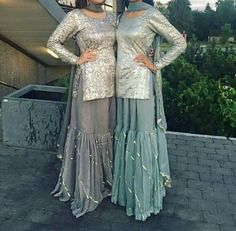Eid outfits - Colder shades like these can be worn for the mendhi, for those bridesmaids that don't like wearing bright vibrant colours and still look… Pakistani Wedding Outfits, Pakistani Dresses, Indian Dresses, Pakistani Sharara, Pakistani Clothing, Wedding Hijab, Indian Lehenga, Wedding Wear, Indian Attire