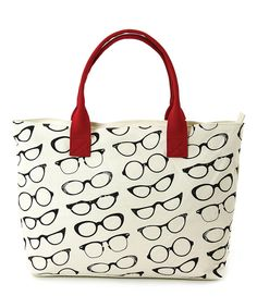Look at this Beige & Black Retro Eyeglasses Canvas Tote on #zulily today!