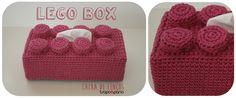 LEGO Box Pink Capa para caixa de lenços. Decoração infantil. Crochet