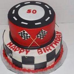 Racing race car theme cake. Checkered flag cake #Poshcakedesigns