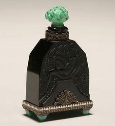 1920's Art Deco Malachite Glass Perfume Bottle