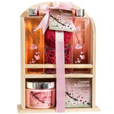 Deluxe Cherry Blossom Relaxing Spa Gift Basket For Women: Indulge Bath Gift Set Home Spa Package With Shower Gel Bubble Bath Bath Salts Body Lotion Bath Puff Pink Bath Rose Soaps In Wooden Curio Gift Baskets For Women, Wine Gift Baskets, Japanese Spa, Spa Basket, Basket Gift, Basket Ideas, Pink Baths, Rose Soap, Purifier