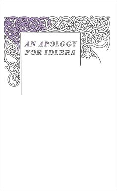 An Apology for Idlers by Robert Louis Stevenson. Book cover art, typography and design by David Pearson for the Penguin Great Ideas series. Check out the full Series 4 cover gallery at http://www.beautifulbookcovers.com/penguin-great-ideas-iv-design/