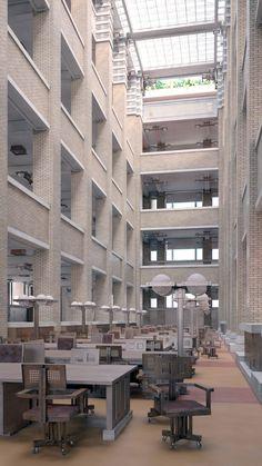O Edifício da Administração Larkin. Arquiteto: Frank Lloyd Wright. Concluído em 1904 e demolido em 1950. Interior do edifício, com o grande átrio coberto, bem como mobiliário da época.  Fotografia: David Romero criou visualizações coloridas dos 2 edifícios.