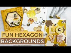 Card Making Techniques, Art Techniques, Hexagon Cards, Paper Art, Paper Crafts, Bee Cards, All Themes, Bee Theme, Hero Arts