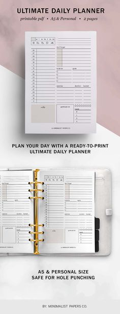 Ultimate Daily and Productivity Planner, Business Planner and Goal Planner, Undated Planner and Student Planner - A5 & Personal Size For Individual Who Loves Minimalistic And Clean Design, Instant Download! #DailyPlanner #DailyPlannerPages #dailyplannerpdf #studentplanner #workplanner #businessplanner #GoalPlanner Daily Planner Pages, Work Planner, Daily Planner Printable, Student Planner, Business Planner, Goals Planner, Planning Your Day, Papers Co, Clean Design