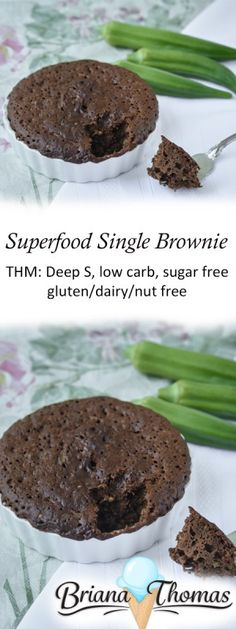 Superfood Single Brownie - THM: Deep S, low carb, sugar free, gluten/dairy/nut free (Paleo Brownies Microwave) Trim Healthy Recipes, Trim Healthy Momma, Low Carb Recipes, Vegan Recipes, Healthy Alternatives, Low Carb Sweets, Low Carb Desserts, Diabetic Desserts, Diabetic Recipes