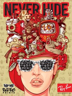 This is a poster design for Ray Ban sunglasses. I really like all of the red in this image. It makes everything pop and look super vibrant. I also like that the typography is surrounded by the red as well. Lunette Ray Ban, Sunglasses For Your Face Shape, Ray Ban Sunglasses Sale, Sunglasses 2016, Sports Sunglasses, Sunglasses Outlet, Sunglasses Online, Police Sunglasses, Design Reference