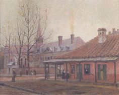 """""""Ursulines Convent New Orleans"""" 1902 Oilstick on board view of the French Quarter of New Orleans, on Chartres up from Ursulines Street, looking towards the Old Ursulines Convent, 1902, by artist William Woodward (1859-1939). Watercolor on paper laid on board. Building at right, at uptown river of Chartres & Ursulines, no longer exists. Date 1902 Source 1902 work by William Woodward, via [1] Author William Woodward (1859-1939) New Orleans History, Louisiana Purchase, New Orleans Homes, Red Light District, New South, French Quarter, The Expanse, Old Things, World"""