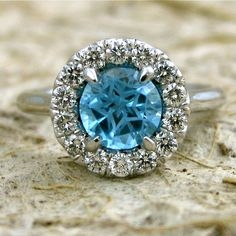 14K White Gold Blue Topaz Micro Pave Diamond Engagement Ring  $1,475.00