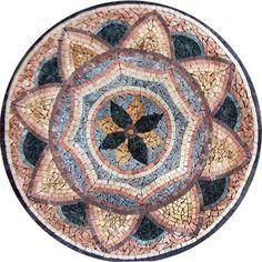 Azhar Floral Medallion Mosaic - Geometric Mosaic Patterns - Floral Medallion… Mosaic Wall Art, Mosaic Glass, Mosaic Tiles, Stained Glass, Mosaic Designs, Mosaic Patterns, Mosaic Art Projects, Mosaic Flowers, Floral Design