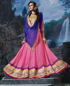 Buy Pleasing Pink Lehenga Choli online at  https://www.a1designerwear.com/pleasing-pink-lehenga-choli-7  Price: $49.47 USD